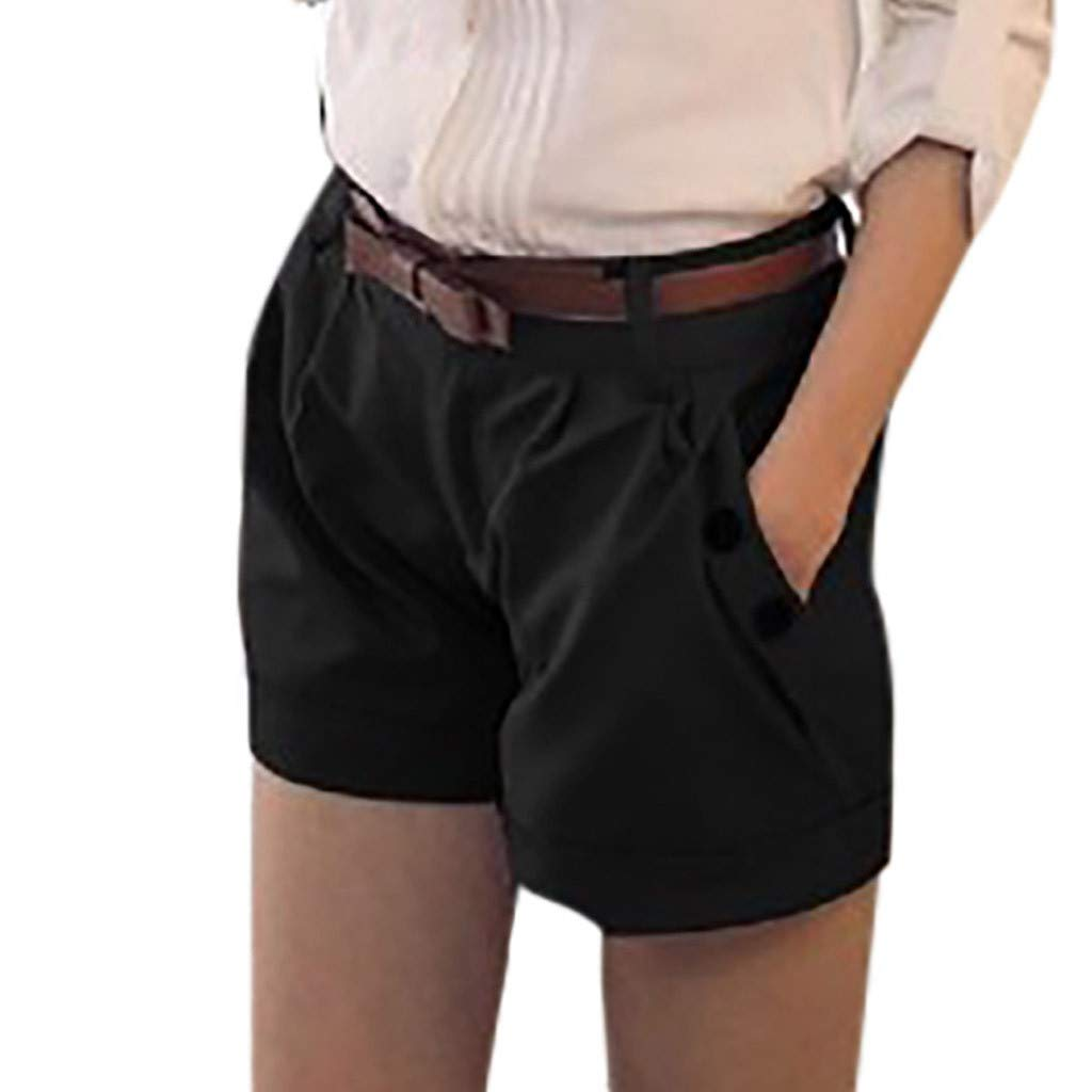 TRENDINAO Women's Sports Casual Shorts Black Khaki, Women Fashion Solid England Style Mid Waist Casual Summer Shorts Pants