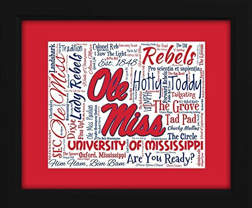 Ole Miss (University of Mississippi) 16x20 Art Piece - Beautifully matted and framed behind (Rebels Art Glass)