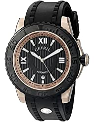 Gevril Seacloud Mens Swiss Automatic Black Rubber Strap Watch, (Model: 3115)