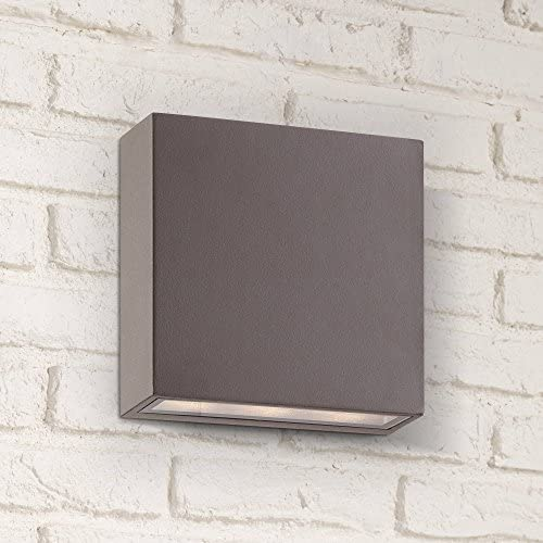 Stanford Modern Outdoor Wall Light Fixture LED Bronze 5 1 2 Tempered Glass Lens Up Down for Exterior House Porch Patio – Possini Euro Design