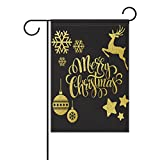 My Daily Merry Christmas Print Green House Flag 28 x 40 inch Gold Snowflake Deer Star Decorative Double Sided Yard Flag