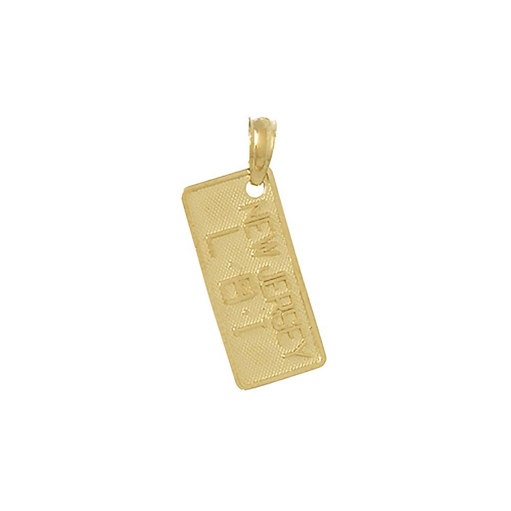 14k Yellow Gold Travel Charm, Small Nj LBI License Plate, (Long Beach Island)