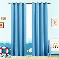 Blackout Curtains for Boy's Room Triple Weave Room Darkening Curtain Panels for Kids Room 63 inches Long Thermal Insulated Living Room Drapes, Grommet Top, 1 Panel, Royal Blue