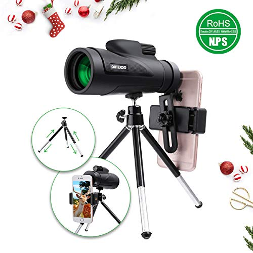 High Power Monocular Telescope, OUTERDO New 12×50 Dual Focus BAK-4 Prism FMC Waterproof Monoculars with Cellphone Adapter and Durable Tripod for Bird Watching, Hunting, Camping, Hiking, Outdoor