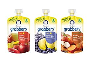 Gerber Graduates Grabbers Squeezable Fruit & Veggies Variety Pack, 4.23 Ounce Pouch, 18 Count