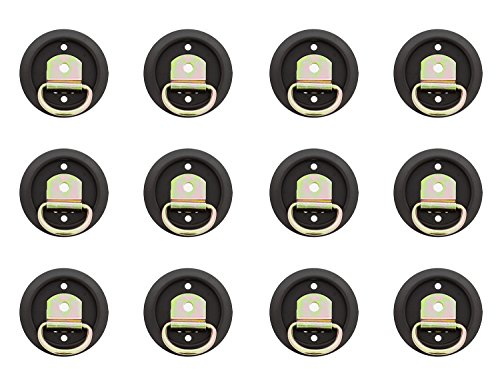 ABN D Ring Tie Down Anchor Set - 12 Pack D Ring Style Mounting Tie Down Ring with Plastic Pan Mount, 1200 LB Rating