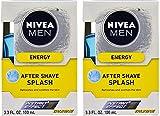 Nivea For Men Energy Taurine After Shave Splash, 3.3 Ounce (Pack of 2)
