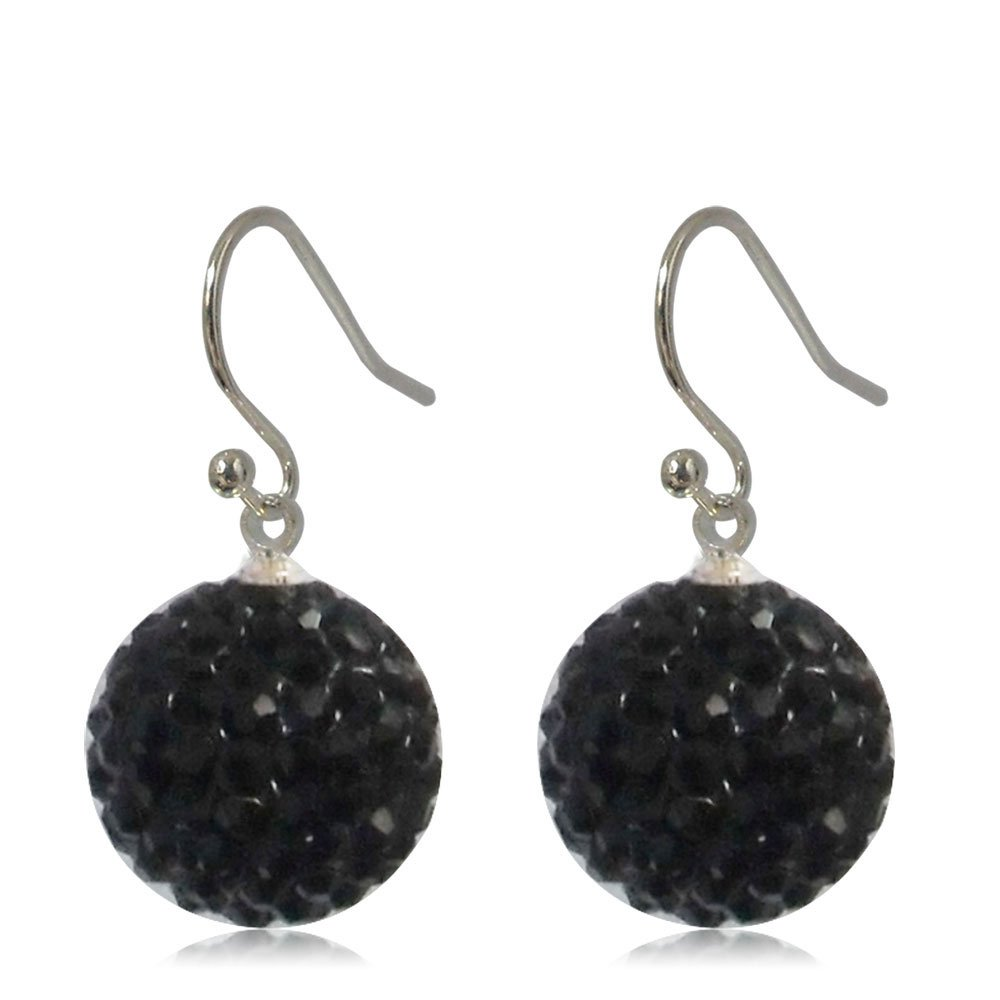 GiftJewelryShop 15MM Sterling Silver Plated Black Disco Crystal Ball Dangle Earrings
