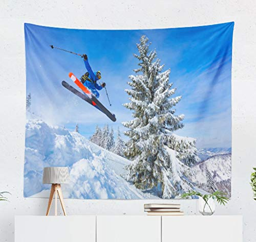 Kutita Tapestry Wall Hanging Good Skiing Snowy Mountains Ukraine Winter Day Ski Jump Cool Wall Tapestry Home Decorations for Bedroom Living Room Dorm Decor in 60