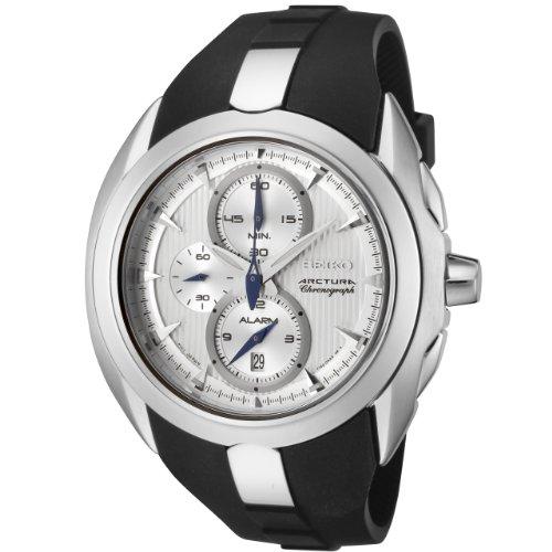 - Seiko Men's SNAC19 Arctura Chronograph Silver DialBlack Rubber Alarm Watch