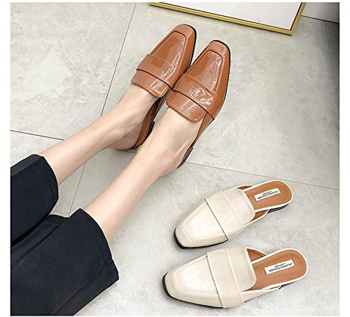Slides Female Fashion Sandals Women Slippers pit4tk Half Summer Toe Flats Shoes Pointed Brown Mules Flat xpEBO
