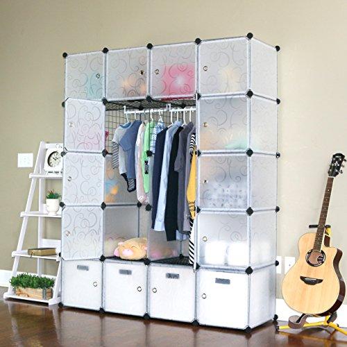 UNICOO - Multi Use DIY 20 Cube Organizer, Wardrobe, Bookcase, Storage Cabinet, Wardrobe Closet with Design Pattern - (Deeper Cube, Semitransparent)