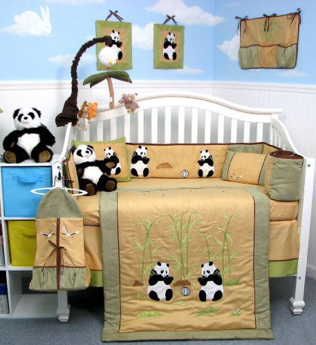 Giant Panda Bear Baby Crib Nursery Bedding Set 13 pcs included Diaper Bag with Changing Pad & Bottle Case by SoHo Designs