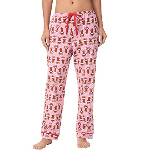 Sock Monkey Flannel (The Cat's Pajamas Sock Monkey Trouble Women's Flannel Pajama Pant X-Large)