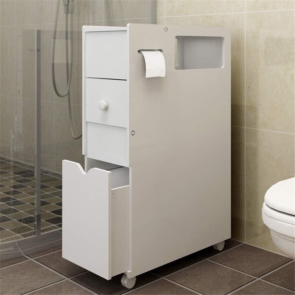 コートフック バスルーム食器棚ストレージラックトイレスペースセーバー主催引き出し付きフロアキャビネット (Color : White, Size : 22 x 45 x 76cm)