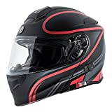 TORC Unisex-Adult Full-face Style T28B Bluetooth Integrated Motorcycle Helmet With Graphic (Matte Black Red, X-SMALL)