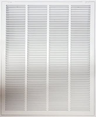 "24"" X 30 Steel Return Air Filter Grille for 1"" Filter - Removable Face/Door - HVAC DUCT COVER - Flat Stamped Face - White [Outer Dimensions: 26.5""w X 32.5""h]"