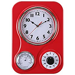 Lilyshome Retro Kitchen Wall Clock With a Thermometer and 60 Minutes Timer - Red