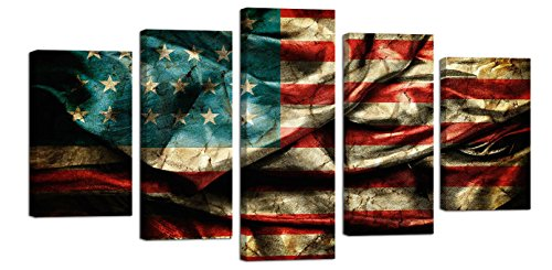 Ardemy Canvas Wall Art Rustic American Flag Painting Vintage US Artwork, Large Size 5 Panels Stretched and Wooden Framed Giclee Prints Pictures Posters for Home Office Meeting Room Decor