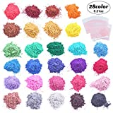 JVIGUE Mica Powder - 28 Color Soap Dye with 20 Plastic Bags, 1 Spoon - 0.21 OZ - Pigment Powder - Soap Making Colorant for Bath Bombs, Candle Making, Slime, Resin, Crafts