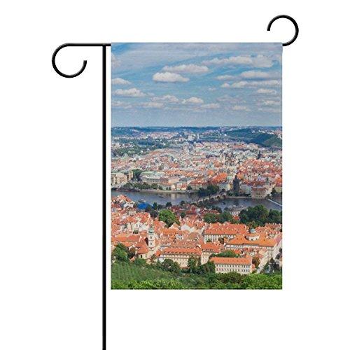 (Raininc's Double Sided Family Flag Prague City Landscape Polyester Outdoor Flag Home Party Decro Garden)