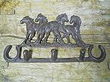 New Cast Iron by YourLuckyDecor 4 HORSETowel, Coat Hooks, Hat Hook, Key Rack RUSTIC Garden HORSE SHOES