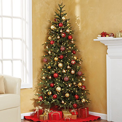 pre lit fraser fir corner artificial christmas tree amazoncouk kitchen home - Half Christmas Tree