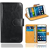 Huawei Ascend G7 Case, FoneExpert® Premium Leather Flip Bag Wallet Case Cover For Huawei Ascend G7 (Wallet Black)