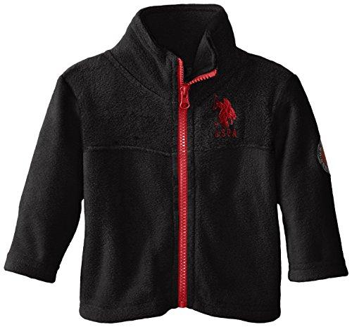U.S. Polo Assn. Baby Boys' Polor Fleece Mock Neck Jacket, Black/Black, 3-6 Months