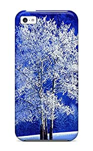 5120164K42590496 Iphone 5c Case Cover - Slim Fit Tpu Protector Shock Absorbent Case (the White Tree)