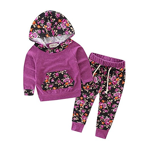 Baby Girls Floral Hoodie+ Floral Pant Set Leggings 2 Piece Outfits (12-18M, Purple) ()