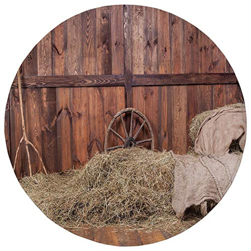 Round Rug Mat Carpet,Barn Wood Wagon Wheel,Rural Old Horse Stable Barn Interior Hay and Wood Planks Image Print Decorative,Brown Dust,Flannel Microfiber Non-slip Soft Absorbent,for Kitchen Floor Bathr]()