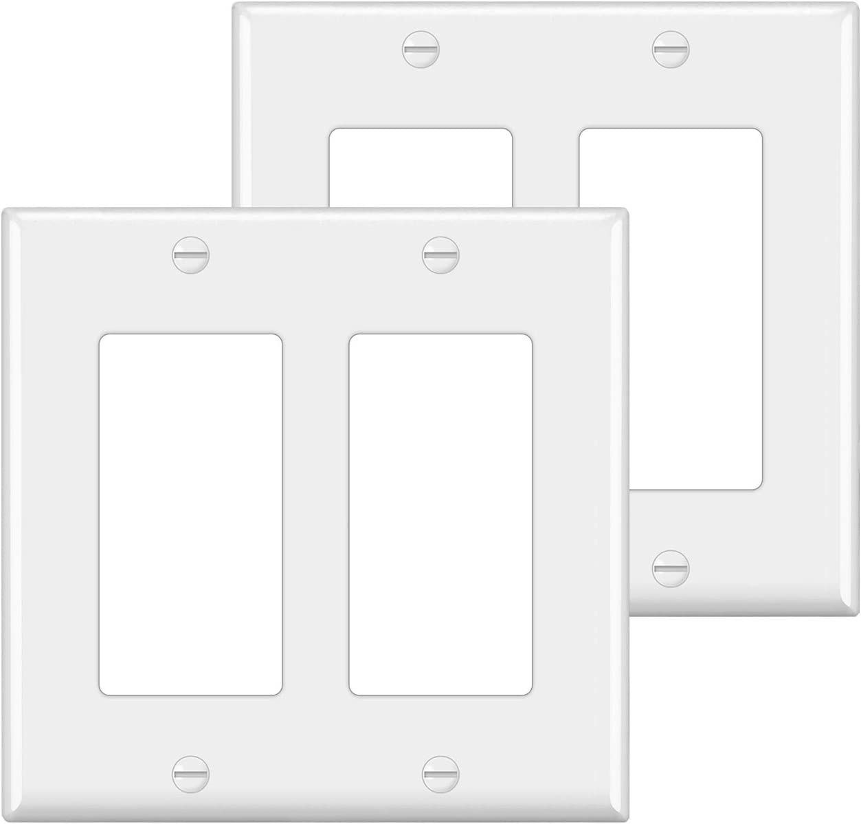 [2 Pack] BESTTEN 2-Gang Decorator Wall Plate, Standard Size, Unbreakable Polycarbonate Outlet and Switch Cover, UL Listed, White