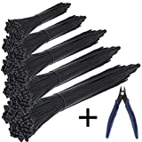 KASZOO Cable Ties 500 Pcs Nylon Zip Ties with Self-Locking 4/6/8/10/12 Inch, Black, UV Resistant, Wire Cutter