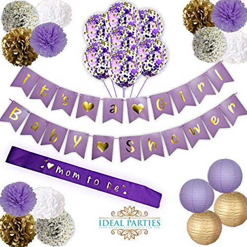 Lavender Baby Shower Decorations set! IT'S A GIRL! Baby shower Banners, Flower PomPoms Gorgeous Light Purple/Gold/White/White with gold dots! Tassel garland,and Lanterns decor for your future Princess Angel Baby Shower Invitations