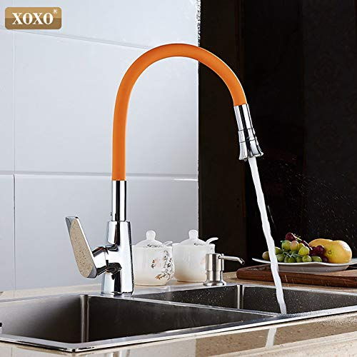 orange U-Enjoy Chandelier New Arrive 360 7 Silicone Top Quality Nasal color Arbitrary Direction Both and Hot Mix Cold Faucet in The Free Shipping [Black]