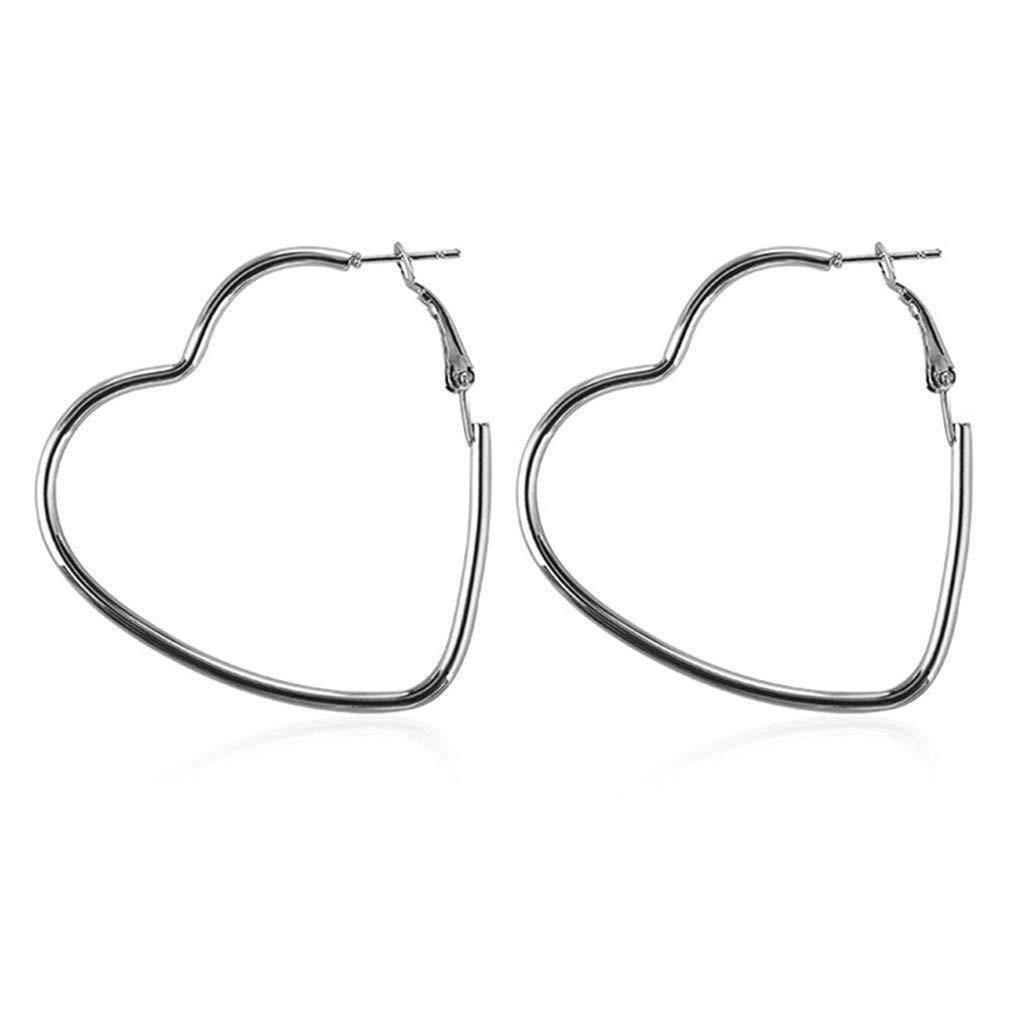 DONGMING Big Hollow Heart Hoop Earrings for Women Simple Geometric Large Earrings Fashion Jewelry Birthday Gift,Silver