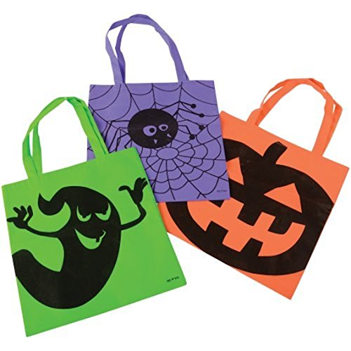 Assorted Halloween Trick Or Treat Ghost Pumpkin Spider Tote Bags With Handles (Pumpkin Halloween Treats)