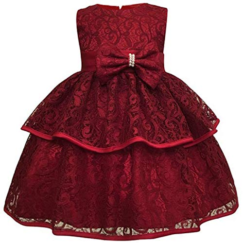 Baby Girls Dress 0-24 Month Baby Lace Baptism Princess Sleeveless Baby Girls 1St Year Birthday Dress Birthday Party Vestido WineRed 6M]()