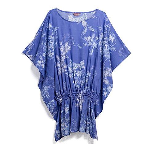 MAJUN (マジュン) かりゆしウェア アロハシャツ かりゆし 結婚式 レディース シャツ ボタンダウン 琉球クラシック ブルー L