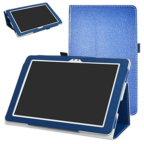 Insignia Flex NS-P16AT10 10.1 Tablet Case,Mama Mouth PU Leather Folio 2-Folding Stand Cover for 10.1 Insignia Flex 10.1 NS-P16AT10 Tablet,Dark Blue