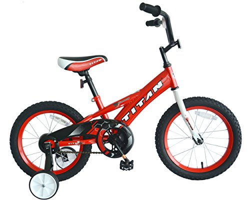 """TITAN Champion Deluxe Boys BMX Bike with 16"""" Wheels, Training Wheels Included, Bright Red"""