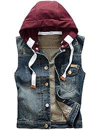 Men's Hoodie Denim Vest Casual Slim Fit Button Down Sleeveless Jeans Vests Jacket