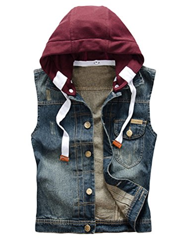 Vogstyle Men's Hoodie Denim Vest Casual Slim Fit Button Down Sleeveless Jeans Vests Jacket M - Hooded Denim