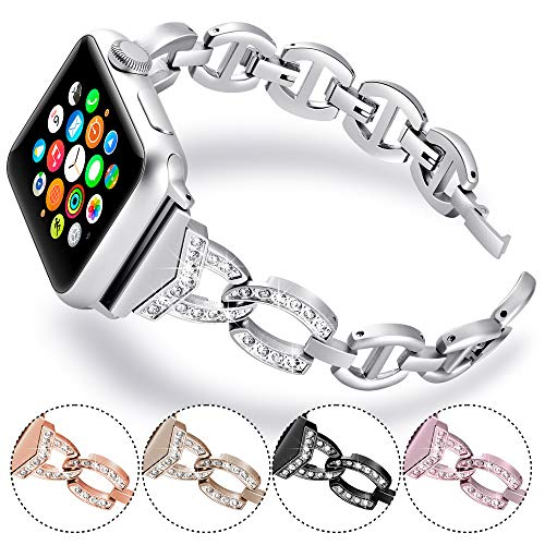KARBYE Compatible for Apple Watch Band 38mm 40mm 42mm 44mm Silver Bracelet for Women, Bling Iwatch Bands 38mm 40mm Womens Compatible for Apple Watch Series 4/3/2/1 Bands (Women Silver) ()