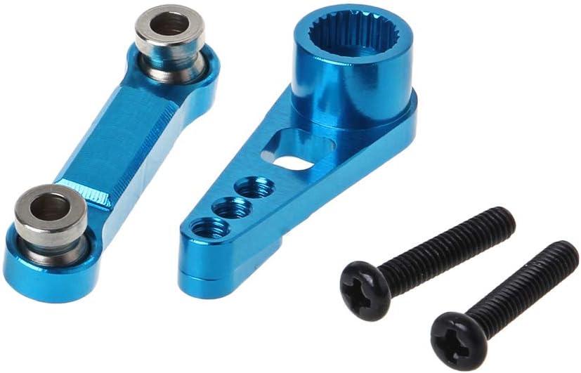 smallJUN Rudder Pull Rod 25T Servo Swing Arm para WLtoys A949 A959 A969 A979 K929-B Mando a Distancia para Coche Accesorios de actualización de Metal Azul