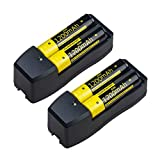 New Fast Lithium Battery 16430 18650 14500 Charger with 3.7V 18650 Li-ion Rechargeable Batteries, 4 Pack - High Protective Real 1200mAH Batteries