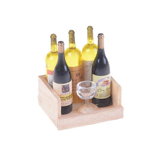 1Set Wine Juice Bottles With Cup Wood Rack 1:12 Dollhouse Miniature Decoration