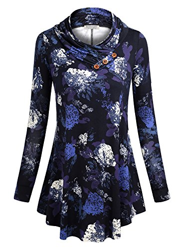 (BaiShengGT Form Fitting Tops Women, Cotton Pullover Top Sweater Dress Medium Blue Floral-2)