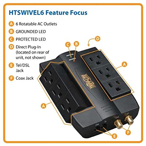 ... sobretensiones con 6 tomacorrientes basculantes, diseño para conexión directa, 1200 Joules, protección coaxial/teléfono/módem: Amazon.es: Electrónica
